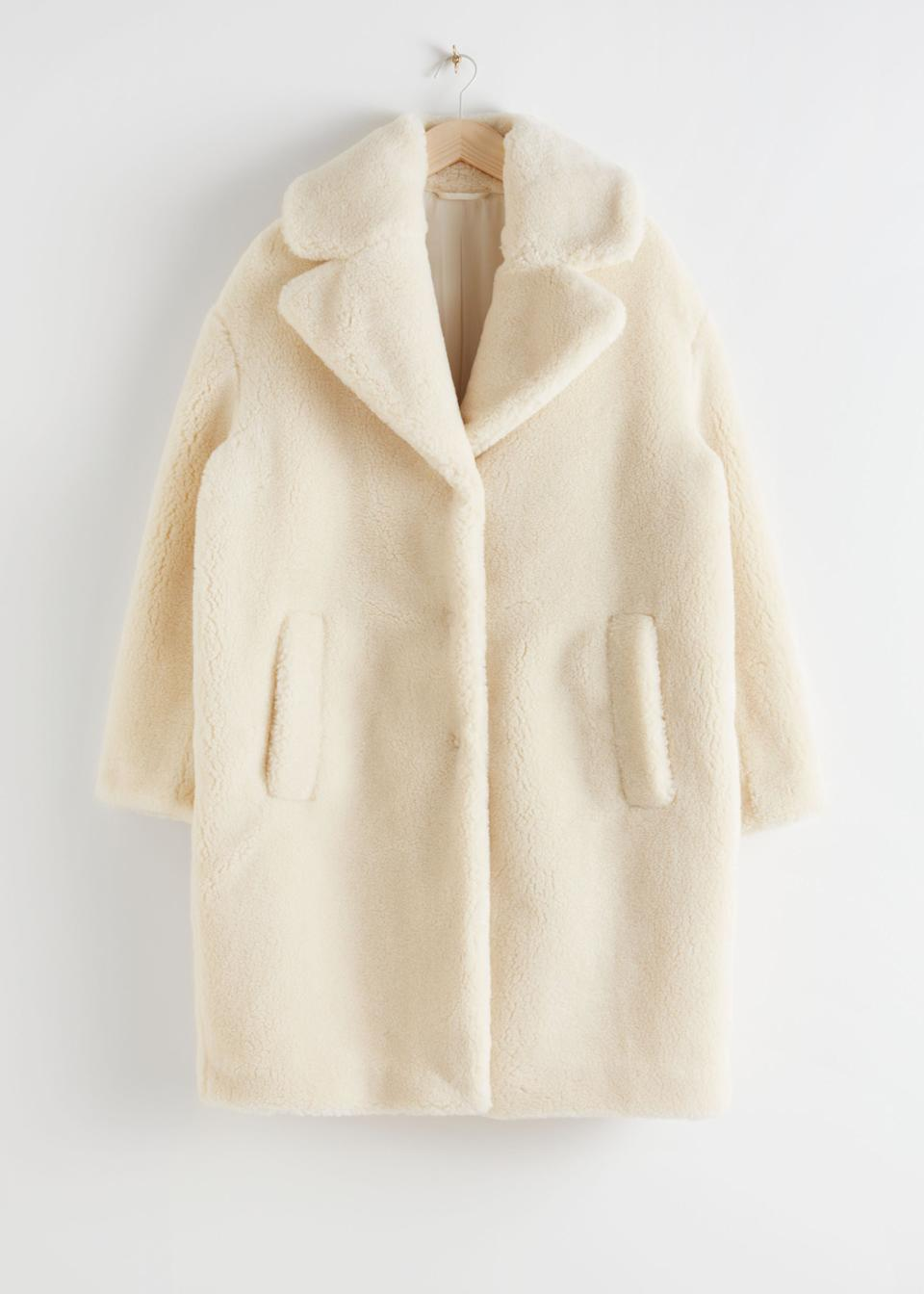 "<br><br><strong>& Other Stories</strong> Oversized Faux Shearling Coat, $, available at <a href=""https://go.skimresources.com/?id=30283X879131&url=https%3A%2F%2Fwww.stories.com%2Fen_usd%2Fclothing%2Fjackets-coats%2Ffauxfur%2Fproduct.oversized-faux-shearling-coat-yellow.0657922004.html"" rel=""nofollow noopener"" target=""_blank"" data-ylk=""slk:& Other Stories"" class=""link rapid-noclick-resp"">& Other Stories</a>"