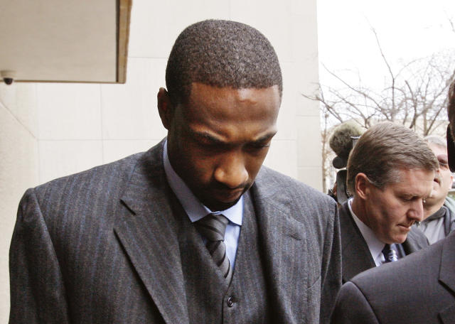 "Former <a class=""link rapid-noclick-resp"" href=""/nba/teams/was"" data-ylk=""slk:Washington Wizards"">Washington Wizards</a> star Gilbert Arenas pled guilty in court to a gun charge for the 2009 locker room incident. (AP)"