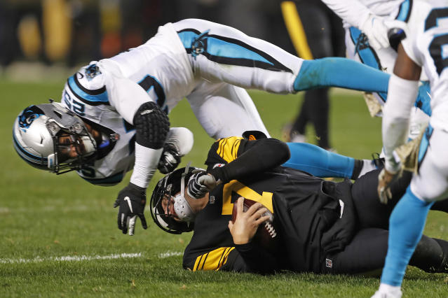 Panthers safety Eric Reid was ejected for an illegal hit on Ben Roethlisberger. (AP)