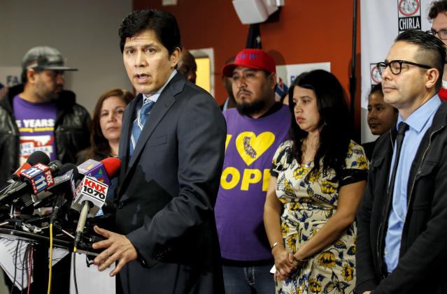 Earlier in February, de León addresses a press conference held by the Coalition for Humane Immigrant Rights about immigration sweeps. (Photo: Irfan Khan/Los Angeles Times via Getty Images)