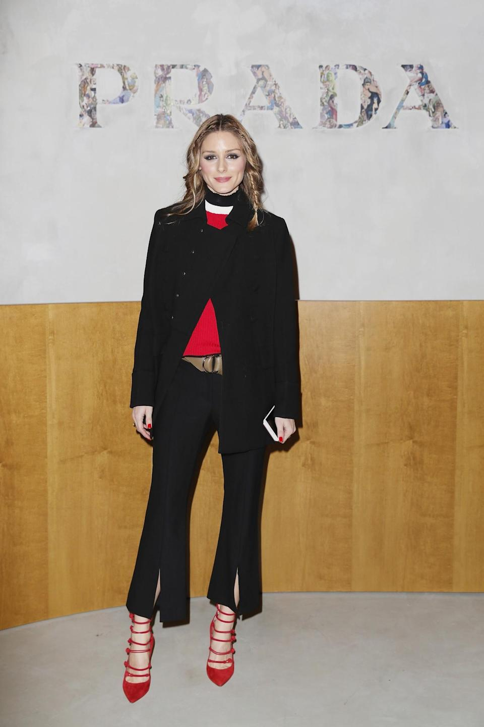 <p>Olivia Palermo arrived in a black and red ensemble. <i>[Photo: Getty]</i> </p>