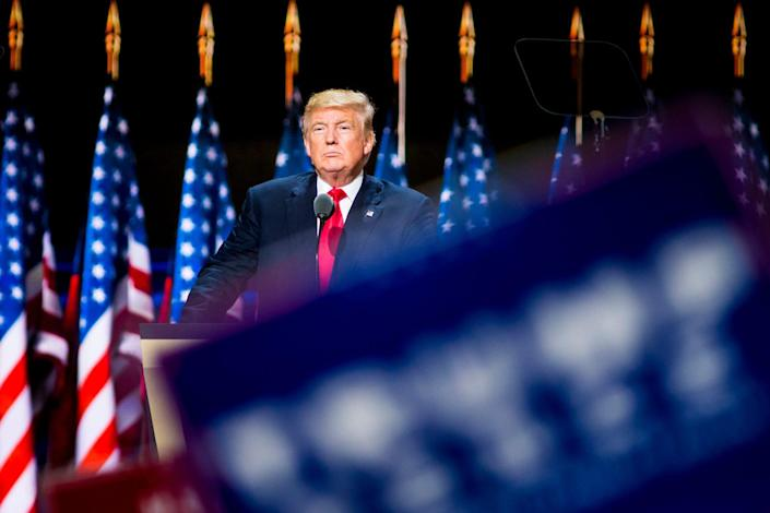 Donald Trump, Republican presidential nominee, speaks on the final night of the Republican National Convention at Quicken Loans Arena in Cleveland on July 21, 2016.