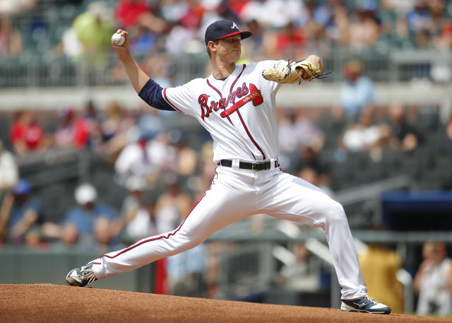 Atlanta Braves starting pitcher Michael Soroka delivers in the first inning of a baseball game against the New York Mets, Wednesday, June 13, 2018, in Atlanta. (AP Photo/Todd Kirkland)