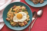 """Load up your oatmeal with bacon, scallions, and cheese for a hardy, savory riff on the cool morning favorite. <a href=""""https://www.epicurious.com/recipes/food/views/slow-cooker-savory-oatmeal-with-bacon-scallions-and-cheddar?mbid=synd_yahoo_rss"""" rel=""""nofollow noopener"""" target=""""_blank"""" data-ylk=""""slk:See recipe."""" class=""""link rapid-noclick-resp"""">See recipe.</a>"""