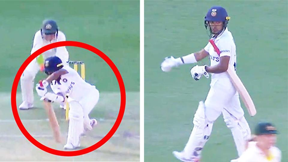 Punam Raut (pictured left) playing a shot and (pictured right) walking off after being given not out by the umpire.