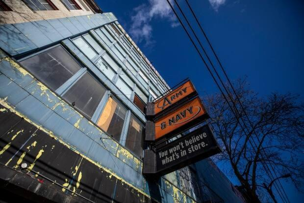 The former Army & Navy department story at 15-27 West Hastings St. will open as a 60-bed shelter in April.