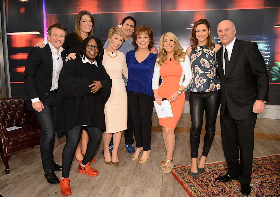 Whoopi Goldberg and Barbara Corcoran posed with the casts of their shows when