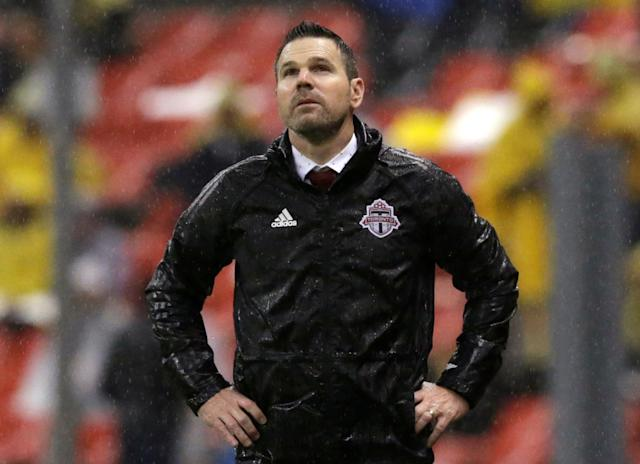 Soccer Football - CONCACAF Champions League - Club America v Toronto FC - Azteca stadium, Mexico City, Mexico - April 10, 2018 - Head coach Greg Vanney of Toronto FC looks on. REUTERS/Henry Romero