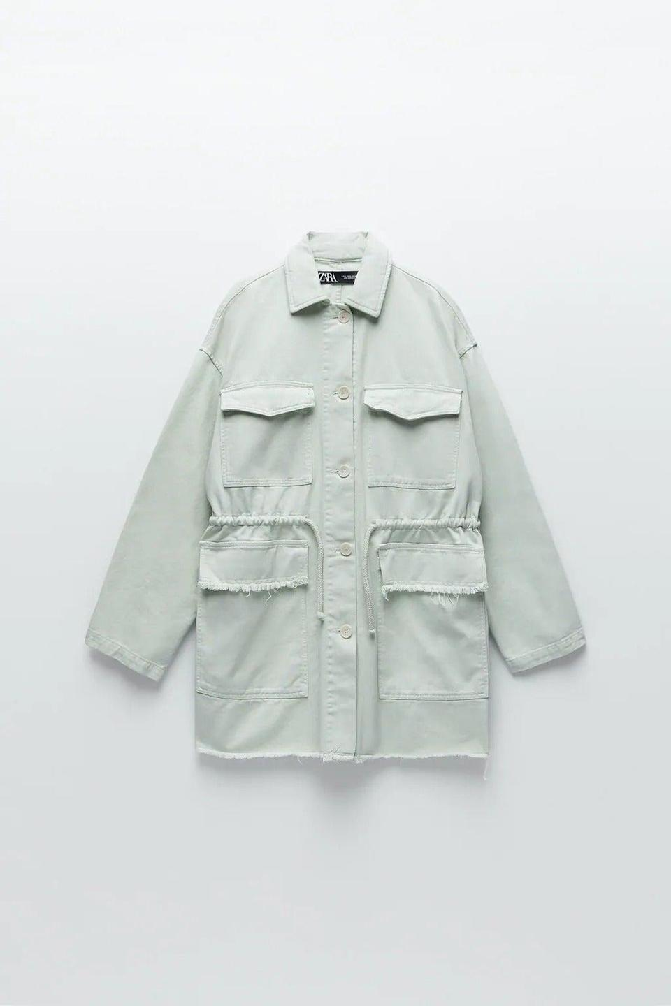 """I've been looking for a shirt to combat chilly evenings for a while but they've all been a bit too thin or have a pattern I'm not quite into. This one looks just right and I love the muted mint green hue.<br><br><strong>Zara</strong> Overshirt With Pockets, $, available at <a href=""""https://www.zara.com/uk/en/overshirt-with-pockets-p07929992.html?v1=57532513&v2=1549201"""" rel=""""nofollow noopener"""" target=""""_blank"""" data-ylk=""""slk:Zara"""" class=""""link rapid-noclick-resp"""">Zara</a>"""