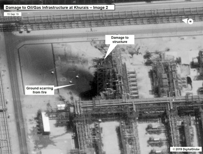 A satellite image showing damage to the Khurais oil field in Saudi Arabia.