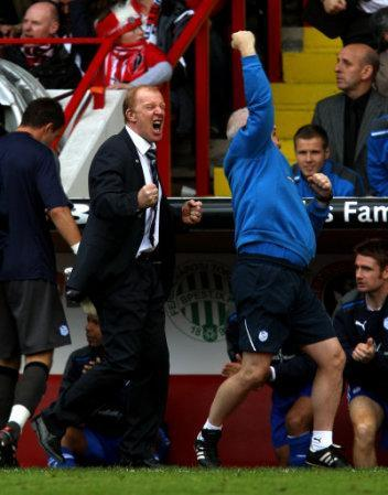 Sheffield Wednesday's manager Gary Megson (left) celebrates after his side score their first goal of the game