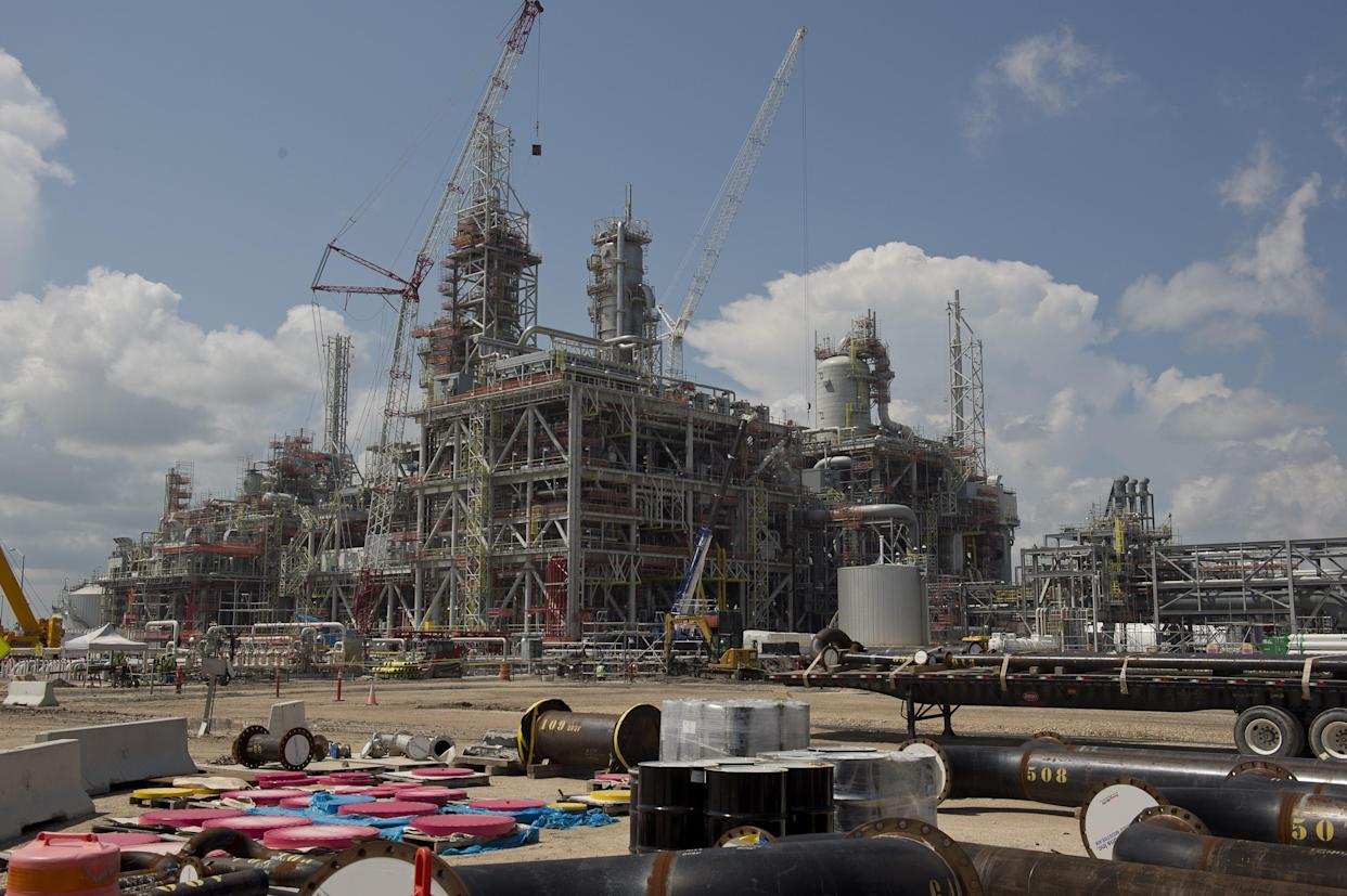 ExxonMobil Corp. and Saudi Basic Industries Corp. (Sabic) Gulf Coast Growth Ventures petrochemical complex under construction in Gregory, Texas, U.S., on Wednesday, July 28, 2021. (Eddie Seal/Bloomberg via Getty Images)