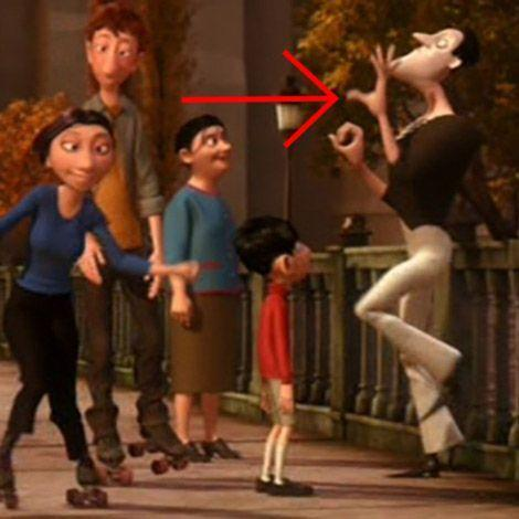 """<p>In <em>The Incredibles</em>, <a href=""""https://pixar.fandom.com/wiki/Bomb_Voyage"""" rel=""""nofollow noopener"""" target=""""_blank"""" data-ylk=""""slk:Bomb Voyage"""" class=""""link rapid-noclick-resp"""">Bomb Voyage</a> is a mime-like villain who vexes Mr. Incredible. In the Paris of <em>Ratatouille</em>, though, he blends into the crowd as a regular street mime. Later, Colette reads a newspaper that has a headline about Bomb Voyage's misdeeds, though, so he's still a master criminal by night.<br></p>"""