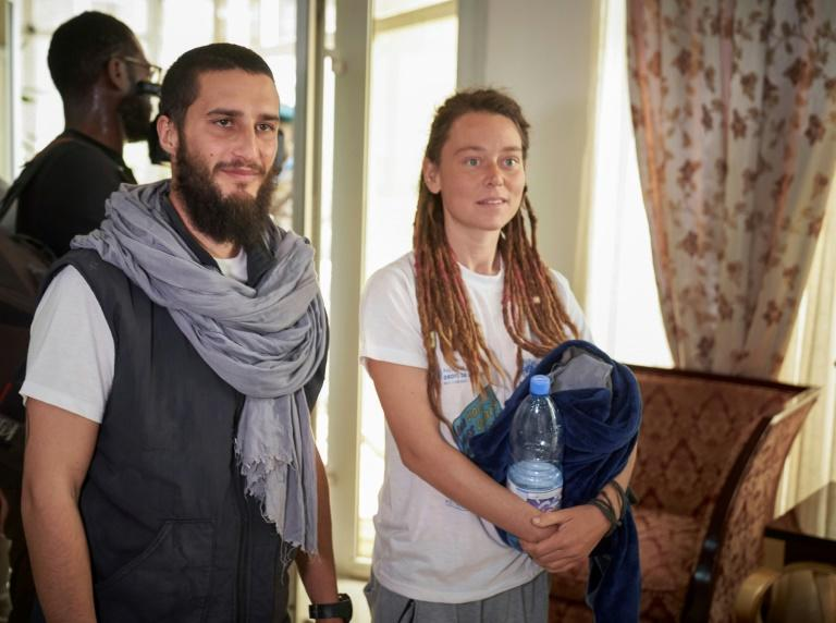 Luca Tacchetto and Edith Blais appeared slightly disoriented when they landed in Bamako