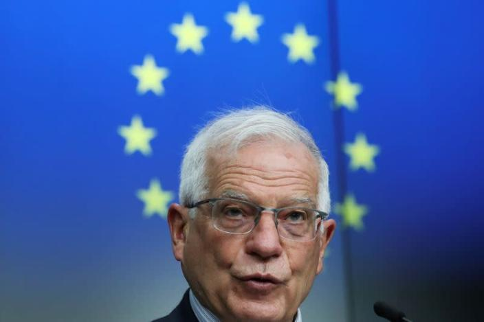 FILE PHOTO: EU High Representative for Foreign Affairs Borrell and Georgia's PM Garibashvili hold a news conference in Brussels