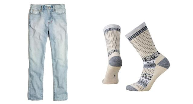 Madewell jeans for containing your base layer, left, and Smartwool socks. (Photos: Madewell; Smartwool)