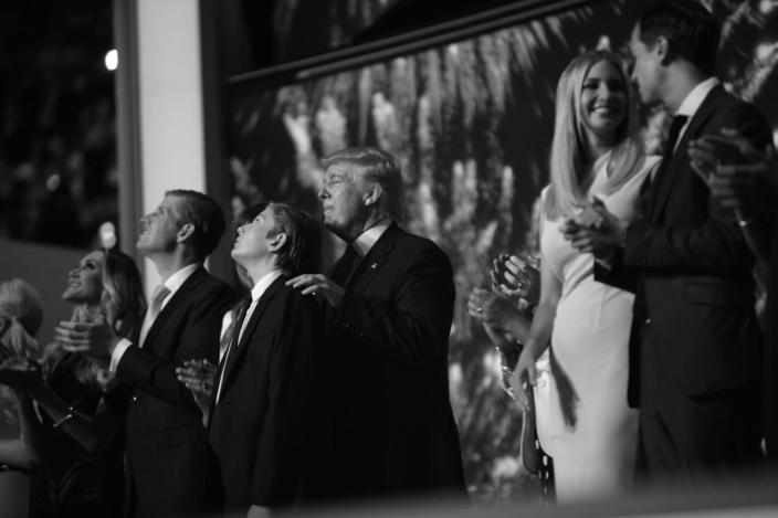 <p>Donald Trump and family celebrate after his acceptance speech at the RNC Convention in Cleveland, OH. on July 21, 2016. (Photo: Khue Bui for Yahoo News)</p>