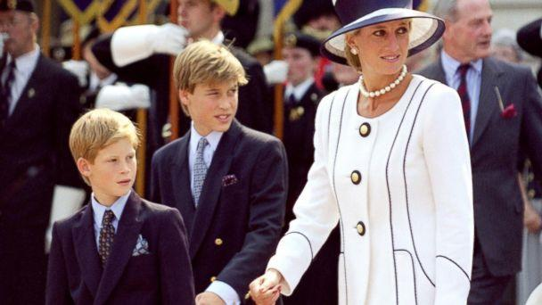 PHOTO: Diana, Princess of Wales and Princes William and Harry attend an event In London on Aug, 19, 1995. ( Antony Jones/Julian Parker/UK Press via Getty Images))