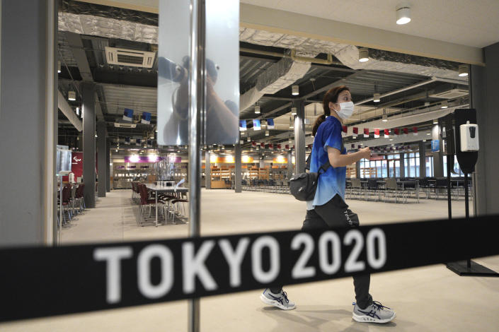 The main dining hall is seen during a press tour of the Tokyo 2020 Olympic and Paralympic Village Sunday, June 20, 2021, in Tokyo. (AP Photo/Eugene Hoshiko)