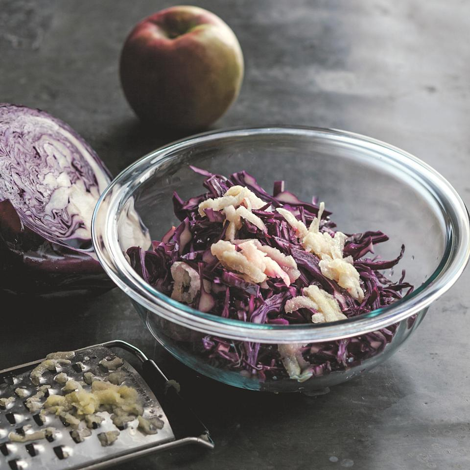 """This sweet and tangy slaw packed with Fuji apples will pair excellently with pork or any of your favorite <a href=""""https://www.epicurious.com/recipes-menus/best-grilled-meat-recipes-gallery?mbid=synd_yahoo_rss"""" rel=""""nofollow noopener"""" target=""""_blank"""" data-ylk=""""slk:grilled meats"""" class=""""link rapid-noclick-resp"""">grilled meats</a>. <a href=""""https://www.epicurious.com/recipes/food/views/moms-sweet-and-sour-red-cabbage-51218610?mbid=synd_yahoo_rss"""" rel=""""nofollow noopener"""" target=""""_blank"""" data-ylk=""""slk:See recipe."""" class=""""link rapid-noclick-resp"""">See recipe.</a>"""