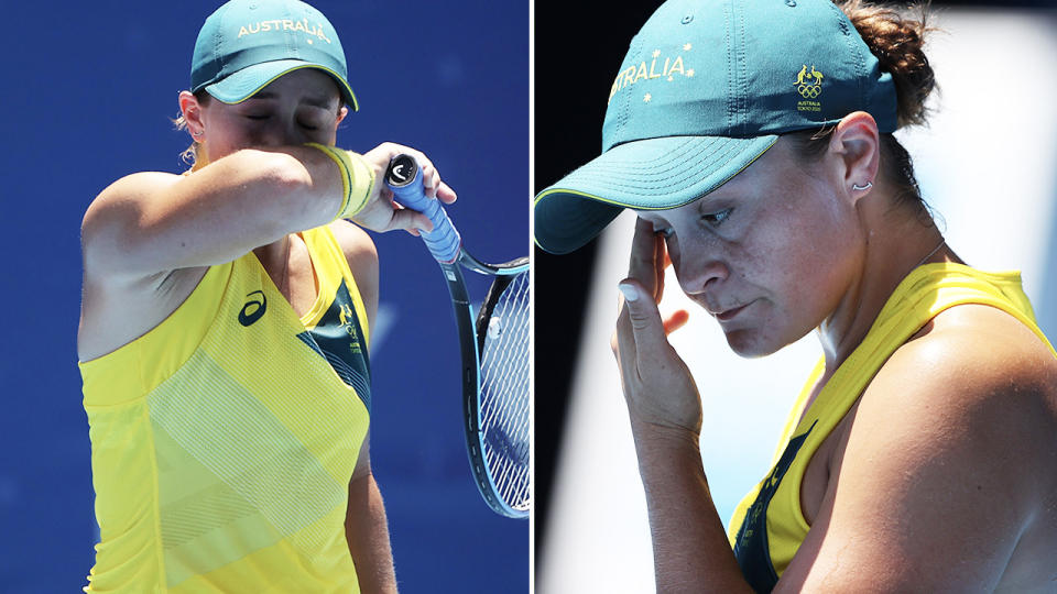 Ash Barty (pictured) looking defeated in the heat at the Toyko Olympic Games in her first round loss.