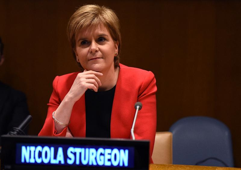 Scotland's First Minister Nicola Sturgeon addresses a meeting of the United Nations on Human Rights and the Role of Women in Building Peace at the United Nations on April 5, 2017 in New York
