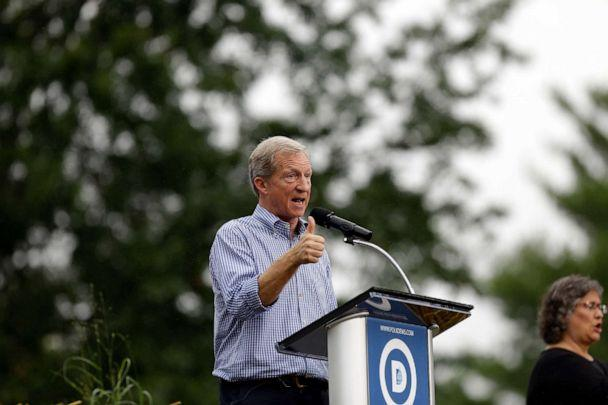PHOTO: Democratic presidential candidate and billionaire hedge fund manager Tom Steyer speaks during the Democratic Polk County Steak Fry, Sept. 21, 2019 in Des Moines, Iowa. (Joshua Lott/Getty Images, FILE)