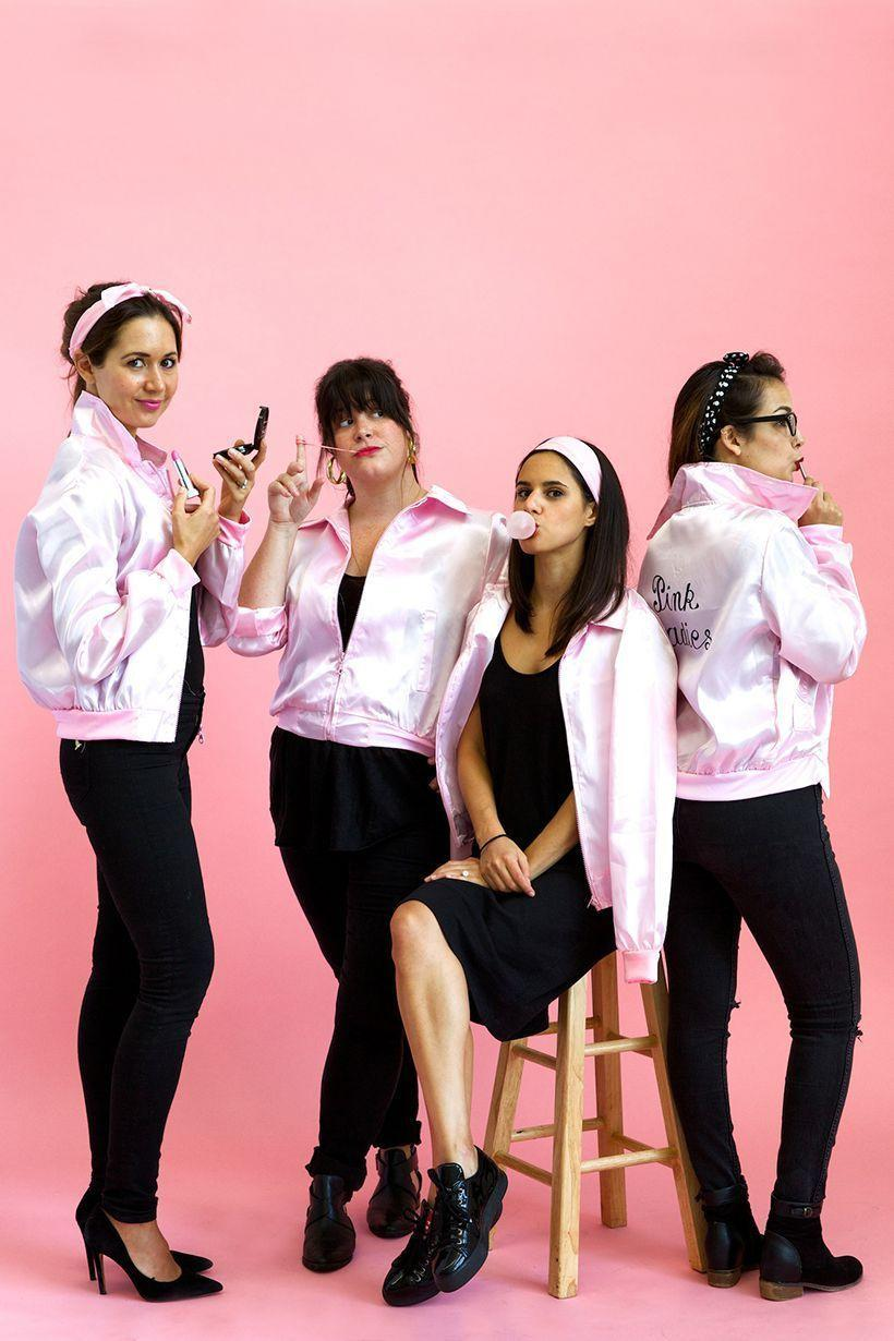 """<p>Grab some pink satin jackets and gather your closest pals for a <em>Grease </em>group costume.</p><p><a class=""""link rapid-noclick-resp"""" href=""""https://www.amazon.com/Yan-Zhong-1950s-Rhinestone-Halloween/dp/B07F8QTVG1?tag=syn-yahoo-20&ascsubtag=%5Bartid%7C10072.g.27868790%5Bsrc%7Cyahoo-us"""" rel=""""nofollow noopener"""" target=""""_blank"""" data-ylk=""""slk:Shop Jacket"""">Shop Jacket</a></p>"""