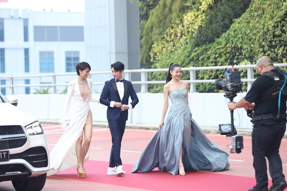 Denise Camillia Tan, Chen Yixi and  at Star Awards held at Changi Airport on 18 April 2021. (Photo: Mediacorp)
