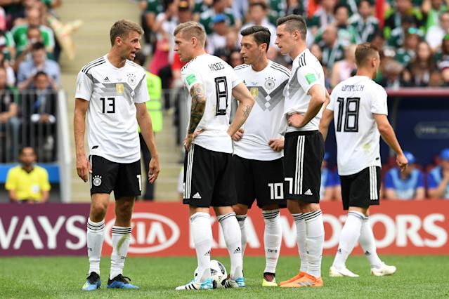 German players react during the 2018 FIFA World Cup Russia group F match between Germany and Mexico. (Getty Images)