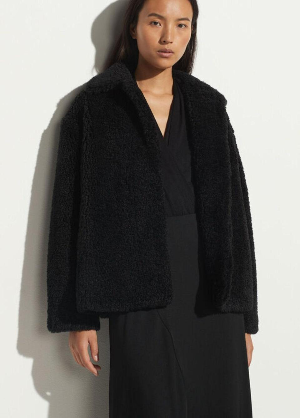 """Trust, this black faux-fur coat will only get better with wear. $495, Vince. <a href=""""https://www.vince.com/textured-faux-fur-jacket-V771291372.html"""" rel=""""nofollow noopener"""" target=""""_blank"""" data-ylk=""""slk:Get it now!"""" class=""""link rapid-noclick-resp"""">Get it now!</a>"""