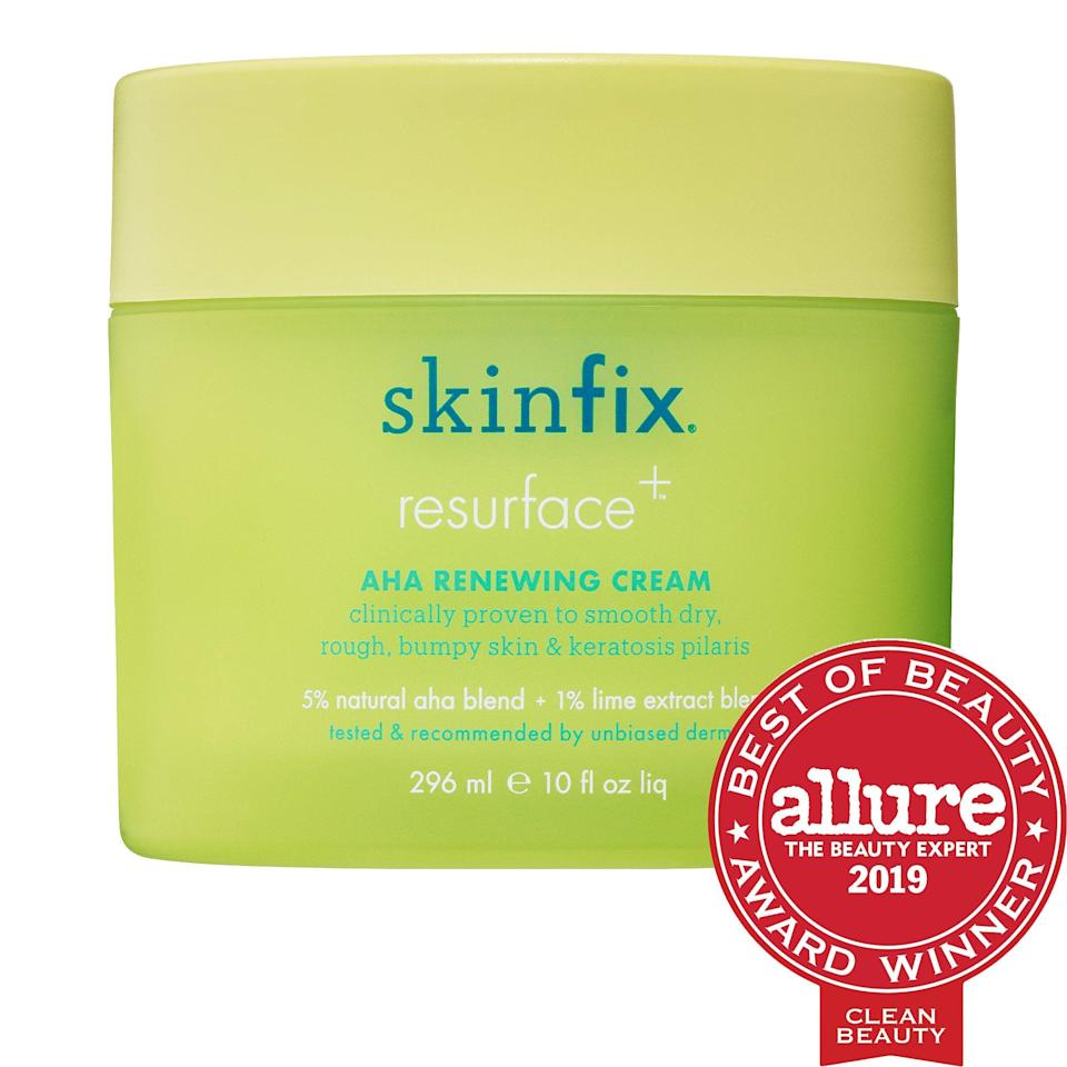 """<p>This bestselling body cream does more than just provide moisture. The <span>Skinfix Resurface+ AHA Renewing Cream</span> ($45) has a natural <a href=""""https://www.popsugar.com/beauty/photo-gallery/44275428/image/44283779/AHA-BHA-Exfoliation"""" class=""""link rapid-noclick-resp"""" rel=""""nofollow noopener"""" target=""""_blank"""" data-ylk=""""slk:alpha-hydroxy acid"""">alpha-hydroxy acid</a> blend to exfoliate dead skin cells - which softens rough skin and works to smooth bumpy or crepey patches, too.</p>"""