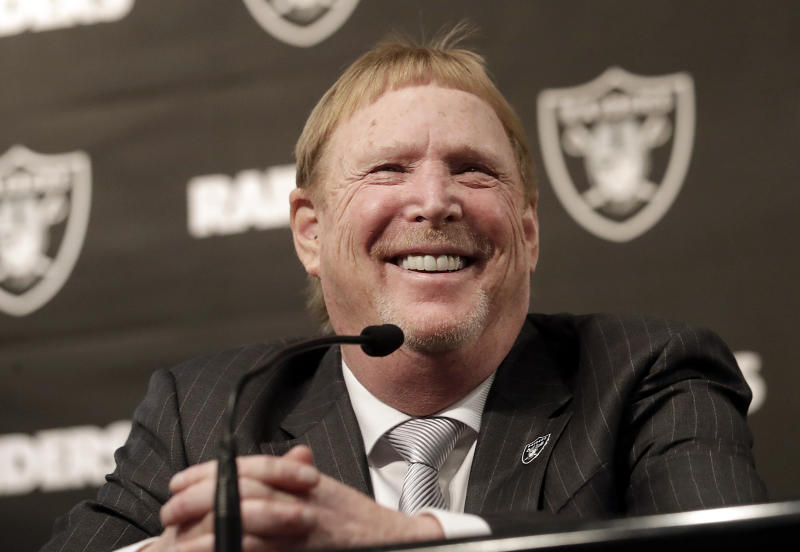 Las Vegas Raiders owner Mark Davis smiles at at a news conference introducing Mike Mayock as the team's general manager at the team's headquarters in Oakland, Calif., Monday, Dec. 31, 2018. (AP Photo/Jeff Chiu)