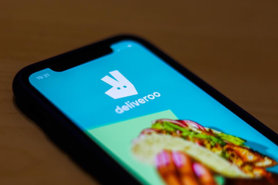 Deliveroo app is seen on the smartphone screen in this illustration photo taken in Krakow, Poland on March 17, 2020. (Photo by Jakub Porzycki/NurPhoto via Getty Images)