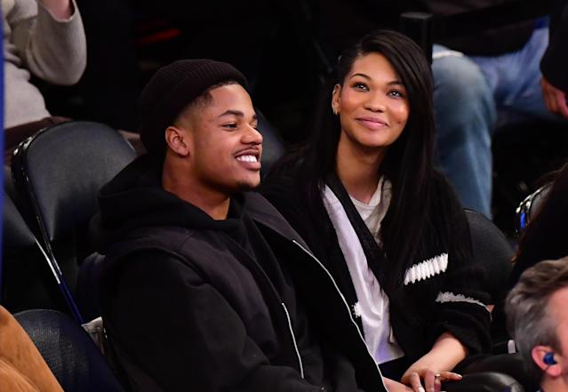 <p>Chanel Iman and Sterling Shepard attend a Pelicans v. Knicks game in 2018 </p>
