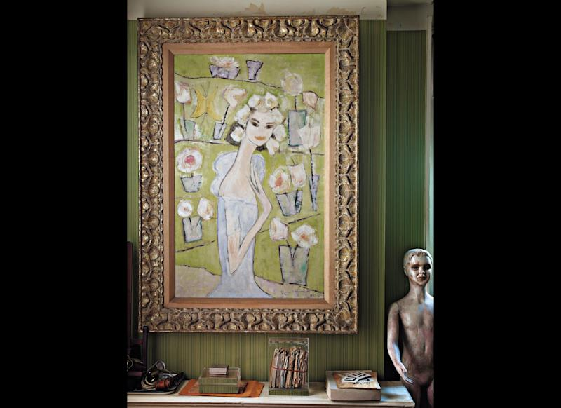 Gloria's 1957 self portrait hangs in the entrance of her studio today. (Credit: Courtesy Gloria Vanderbilt)