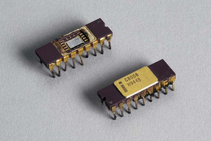 Two Intel 8080 microprocessor chips 1970s.
