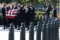 <p>The casket of Associate Justice Ruth Bader Ginsburg is carried in front of the U.S. Supreme Court where she will lie in repose, on September 23, 2020 in Washington, DC.</p>