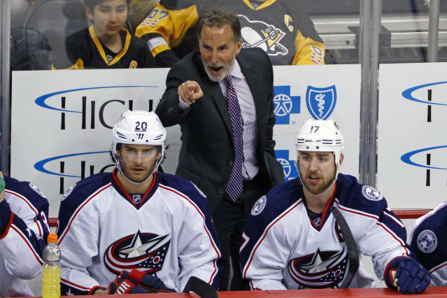 Columbus Blue Jackets coach John Tortorella has words for an official during the third period in Game 5 of the team's NHL first-round hockey playoff series against the Pittsburgh Penguins in Pittsburgh, Thursday, April 20, 2017. The Penguins won the game 5-2, and took the series. (AP Photo/Gene J. Puskar)