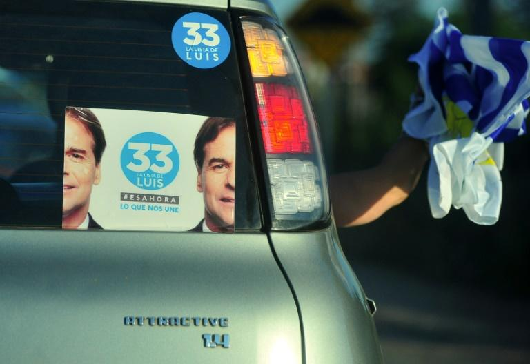 A supporter of Uruguay's presidential candidate for the opposition Partido Nacional party, Luis Lacalle Pou, waves a Uruguayan flag from a car during the closing rally of his campaign