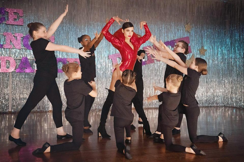 """<p><strong>Descendants</strong> actress Sofia Carson stars in this dance comedy as April, an aspiring performer who - after she fails to land a role on Broadway - returns home to Wisconsin, where she's tasked with training a group of young outcasts for a major dance competition. Though she's reluctant to do so, that changes when she learns that the competition gives her an opportunity to perform in front of Broadway producer Welly Wong, who could potentially save her dance career.</p> <p>Watch <a href=""""http://www.netflix.com/title/80994878"""" class=""""link rapid-noclick-resp"""" rel=""""nofollow noopener"""" target=""""_blank"""" data-ylk=""""slk:Feel the Beat""""><strong>Feel the Beat</strong></a> on Netflix now.</p>"""