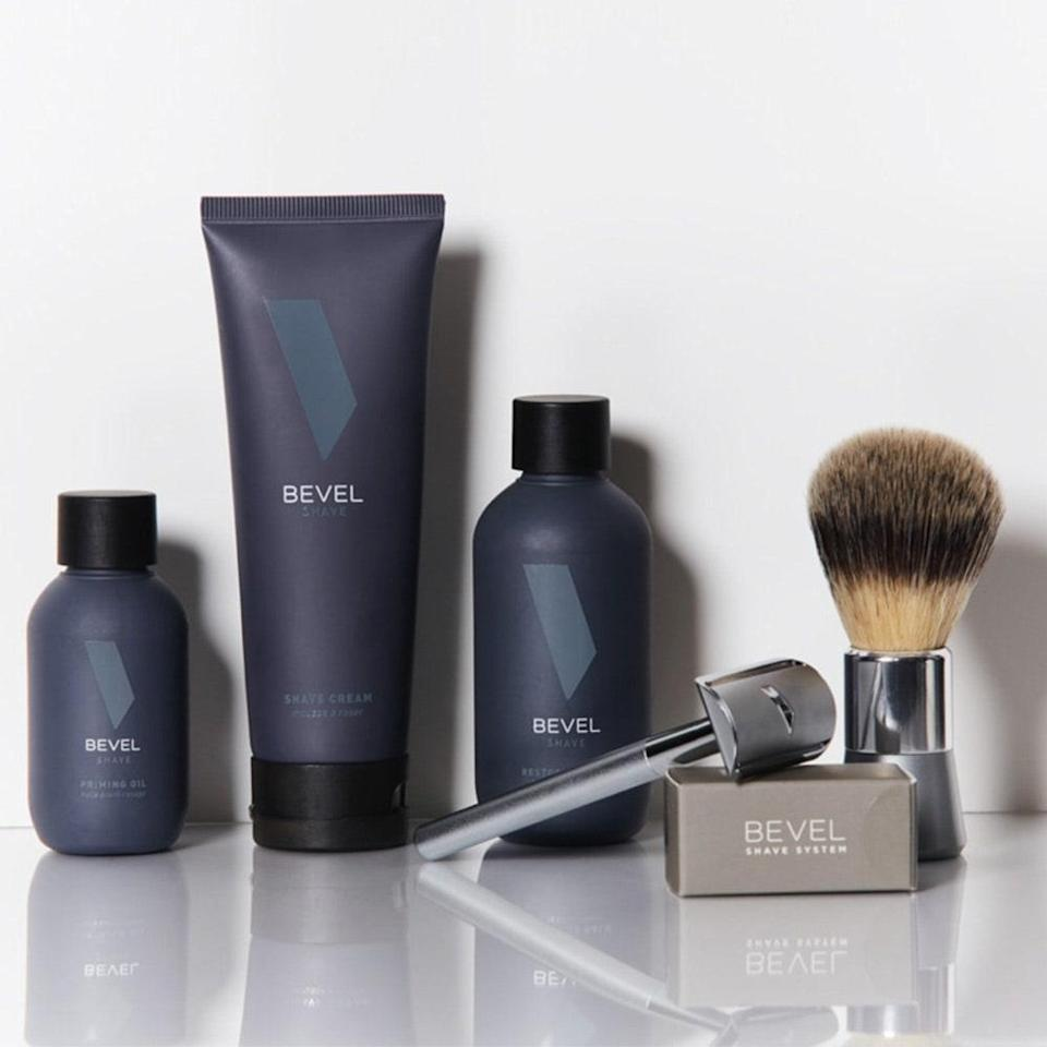 "<p>Bevel's The Complete Shave System will make his <a href=""https://www.allure.com/story/types-of-razors-differences?mbid=synd_yahoo_rss"" rel=""nofollow noopener"" target=""_blank"" data-ylk=""slk:shaving routine"" class=""link rapid-noclick-resp"">shaving routine</a> impossibly smooth and even includes pre- and post-care essentials. Prep skin with the priming oil, lather up the shaving cream with the brush, achieve a close shave with the safety razor (the set comes with 20 blades), and apply the restoring balm after rinsing off to keep skin calm. It's almost too easy.</p> <p><strong>$90</strong> (<a href=""https://getbevel.com/shave-kit"" rel=""nofollow noopener"" target=""_blank"" data-ylk=""slk:Shop Now"" class=""link rapid-noclick-resp"">Shop Now</a>)</p>"