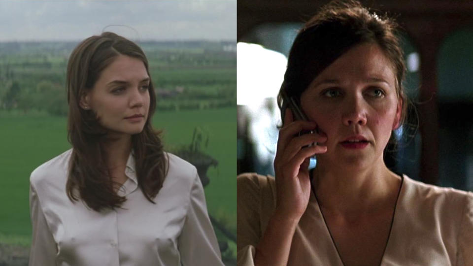 Maggie Gyllenhaal replaced Katie Holmes as Rachel Dawes in 'The Dark Knight'. (Credit: Warner Bros)