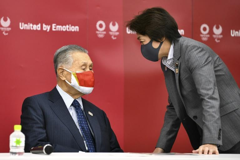 Sexism row: Yoshiro Mori, left, was forced to stand down and to be replaced by Olympics minister Seiko Hashimoto, right
