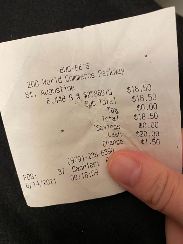 A gas receipt from Buc-ee's in Florida.