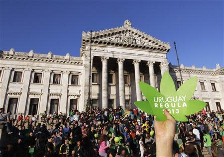 """People participate in the so-called """"Last demonstration with illegal marijuana"""" in front of the Congress building in Montevideo"""