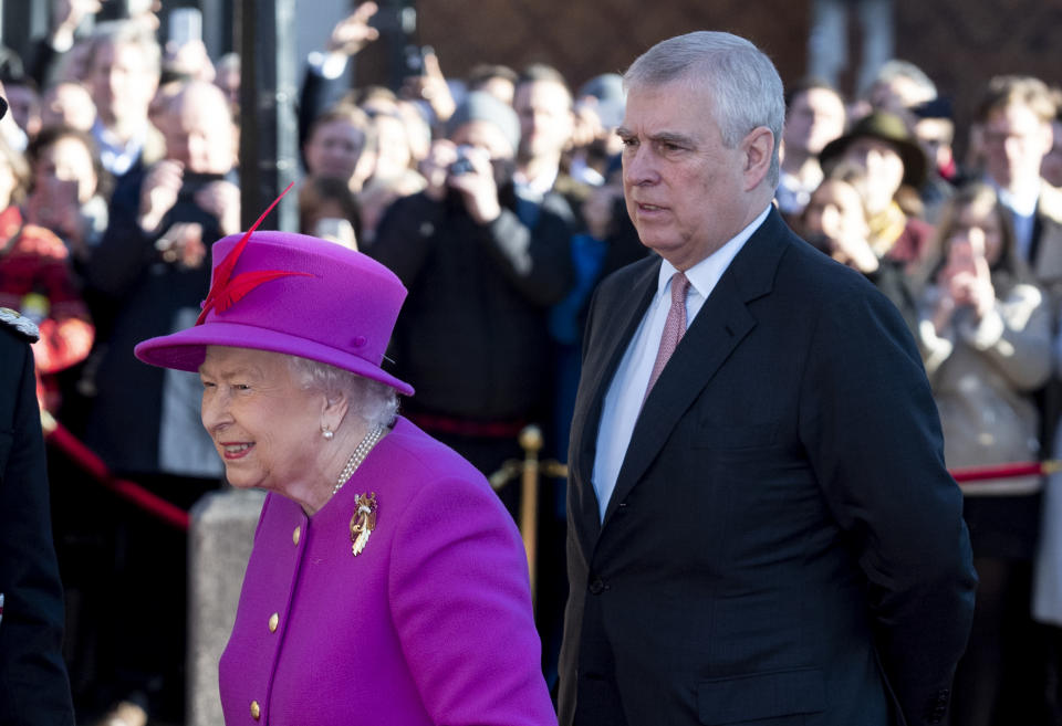 Prince Andrew is staying with the Queen after being accused of sexual abuse. They are pictured together in December 2018. (Getty Images)