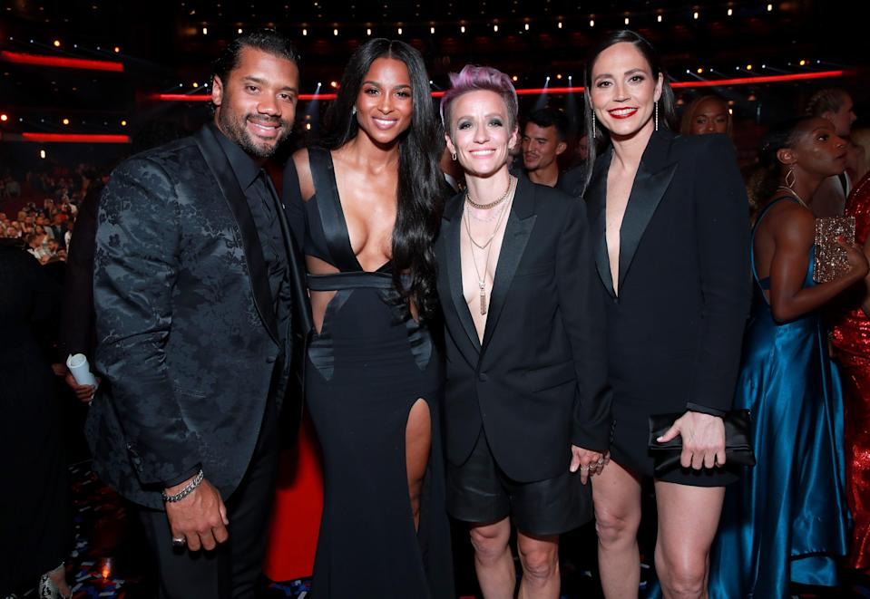 (From left to right) Russell Wilson, Ciara, Megan Rapinoe, and Sue Bird attend The 2019 ESPYs in Los Angeles. Wilson, Rapinoe and Bird hosted the event virtually in 2020.