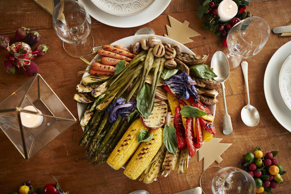 Directly above shot of various grilled vegetables served in plate on table at home during Christmas