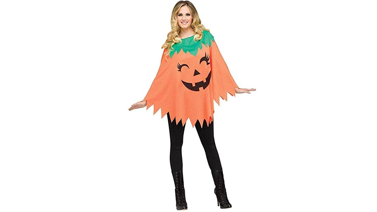 This pumpkin poncho might just look like the one you had as a kid, only bigger.
